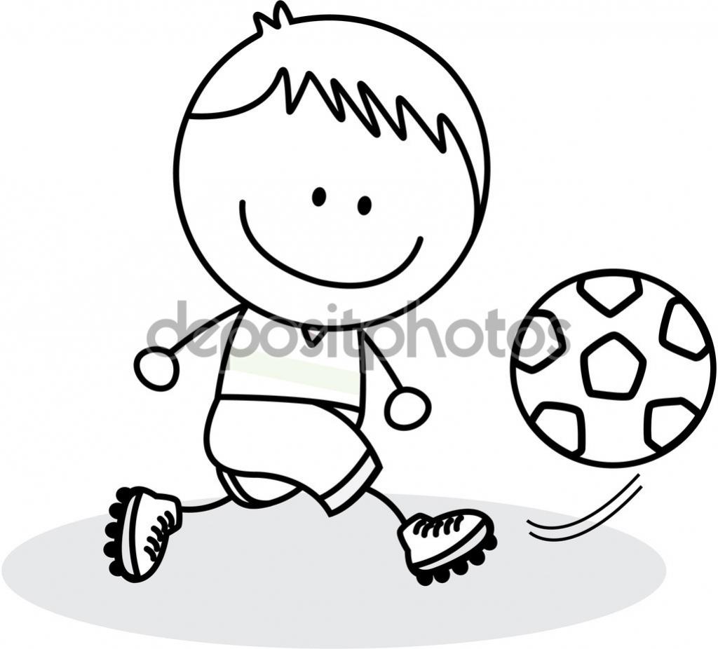 1024x926 A Boy Playing Football Drawing Cartoon Boy Playing Soccer Kid Ball