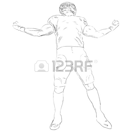 450x450 American Football Player With The Ball. Vector Drawing Royalty