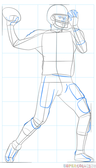 329x575 How To Draw A Football Player Step By Step Drawing Tutorials