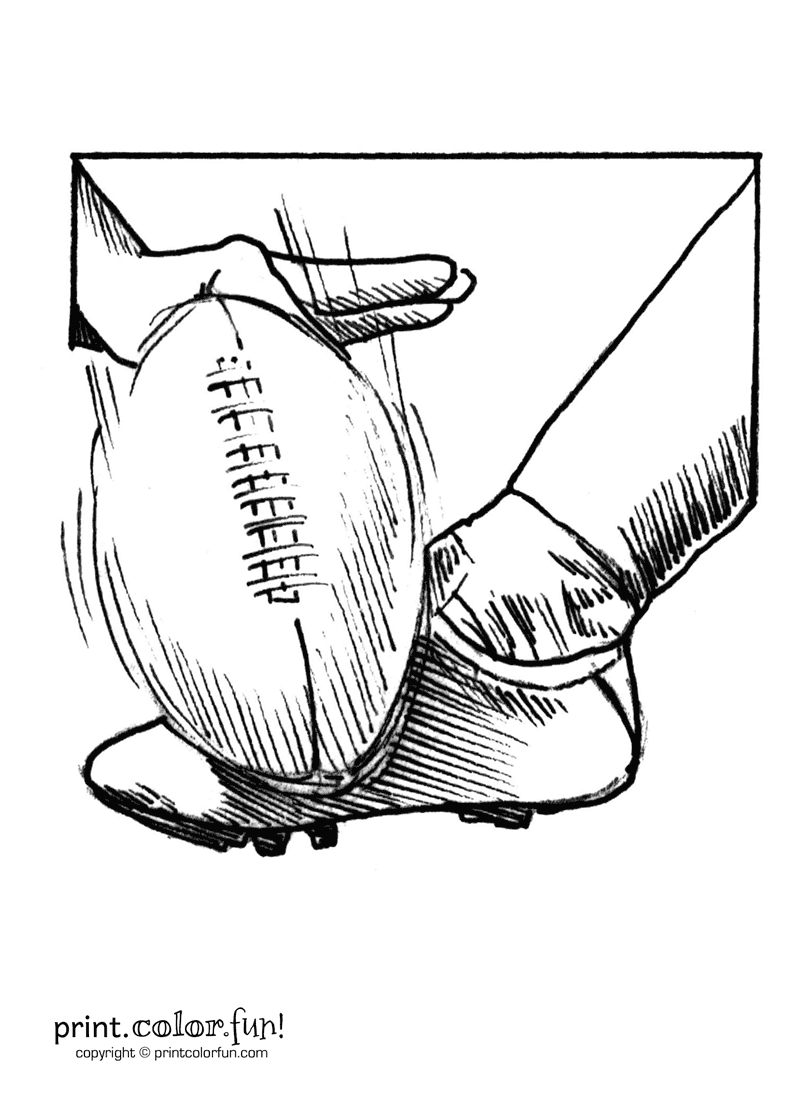 800x1100 Kicking A Football Coloring Page