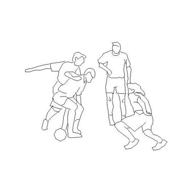 645x645 People Playing Football Cad Drawing