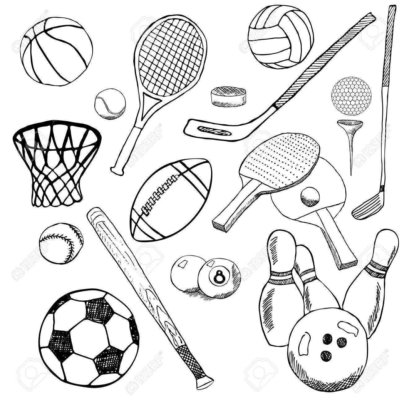 1300x1300 Sport Balls Hand Drawn Sketch Set With Baseball, Bowling, Tennis