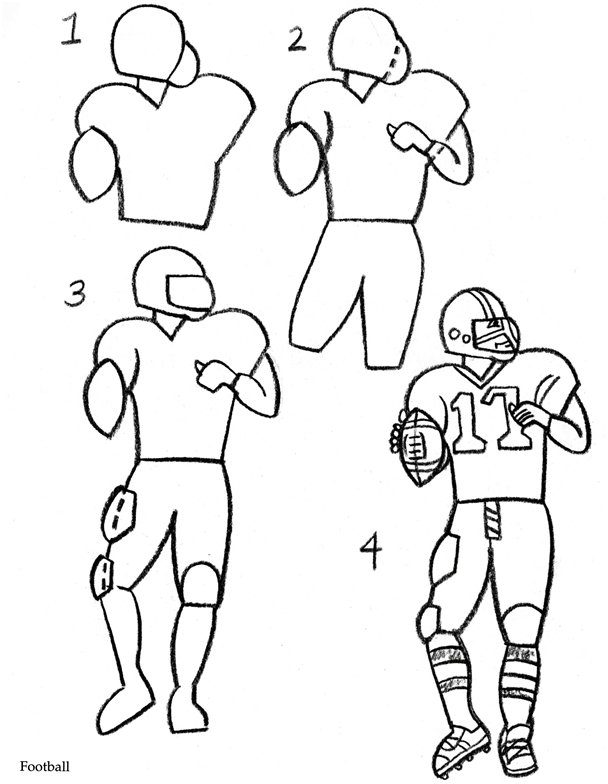 608x784 Coloring Amp Activity Pages How To Draw A Football Player