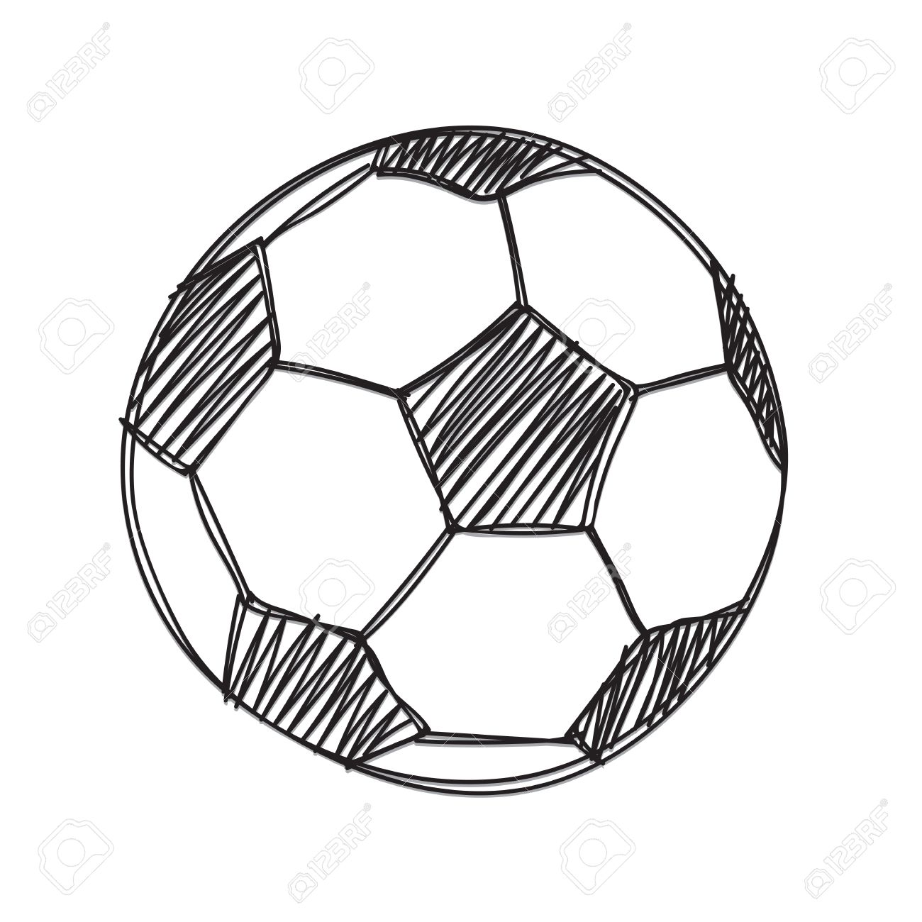 1300x1300 Hand Draw Football Ball Isolated Illustration On White Background
