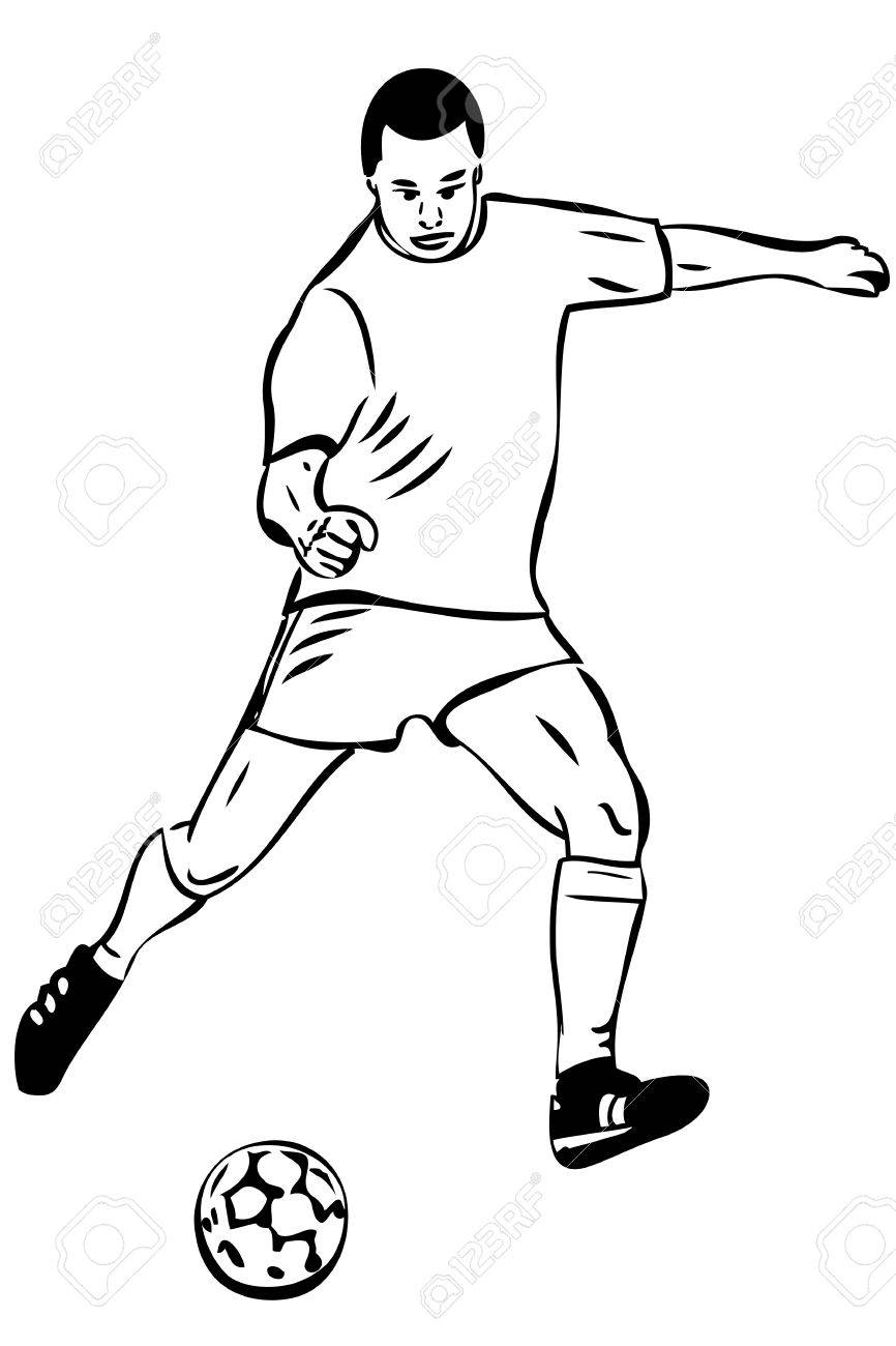 866x1300 Sketch Athlete Football Player With The Ball Royalty Free Cliparts