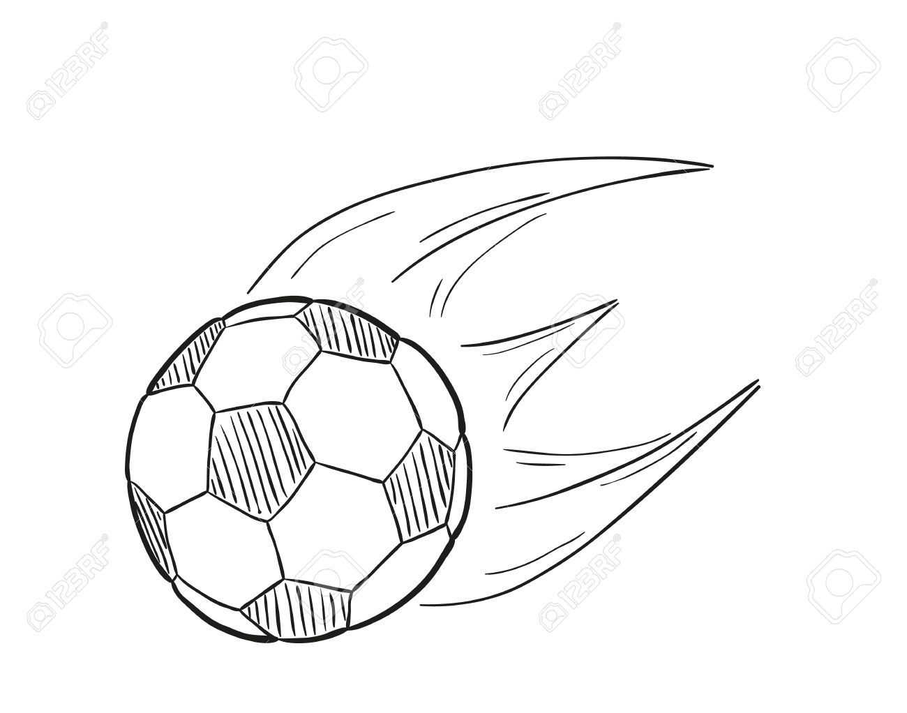 1300x1022 Sketch Of The Flying Football Ball With Flames Behind On White