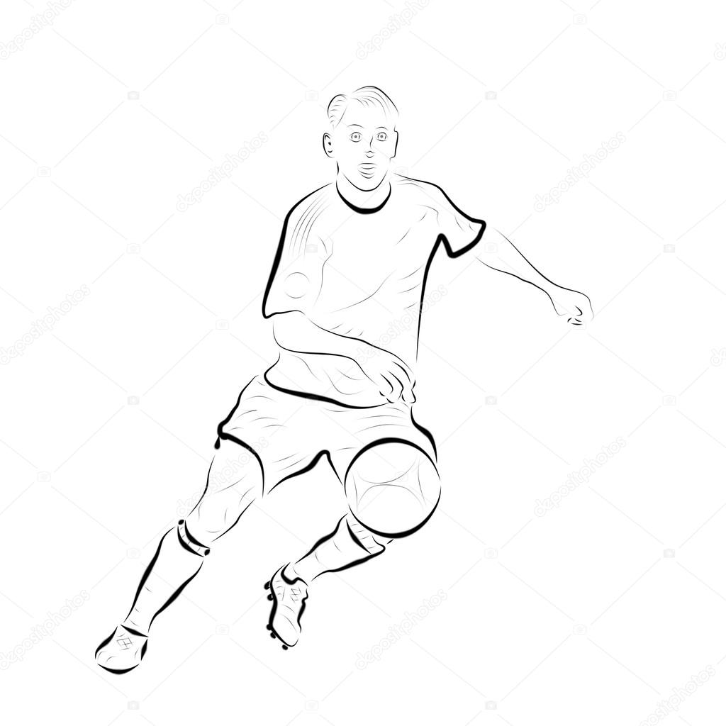 1024x1024 Football Player Running After The Ball, Abstract Drawing, Sketch