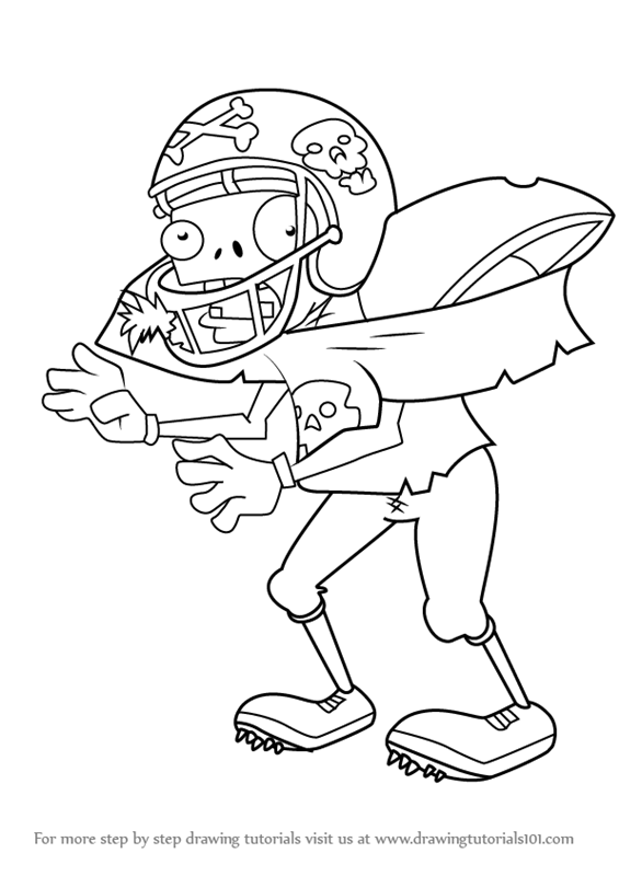 565x800 Learn How To Draw Football Zombie From Plants Vs. Zombies (Plants