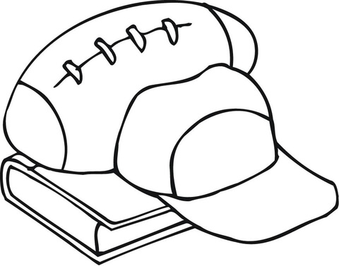 480x377 Outline Of Football Equipment And A Book Coloring Page Free