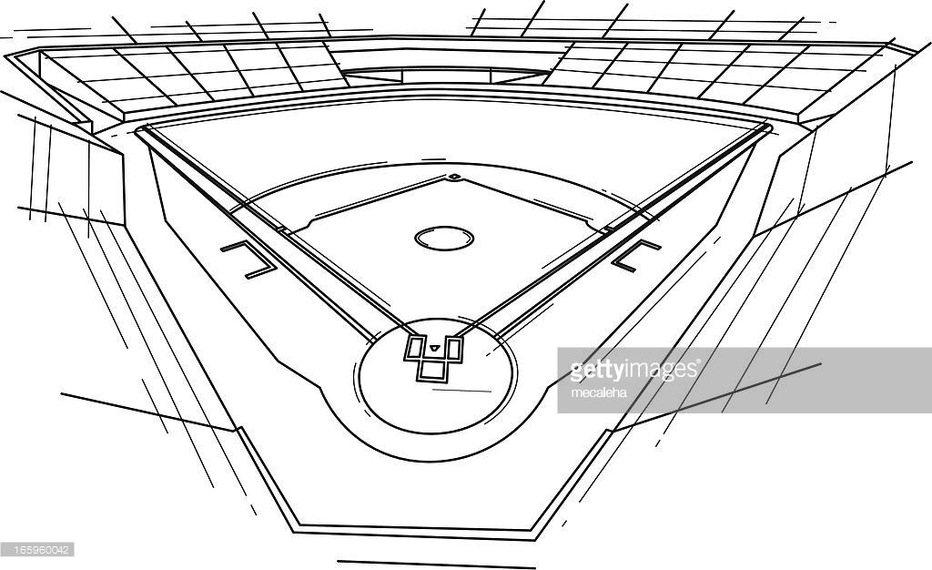 1024x626 Football Field Pencil Drawing