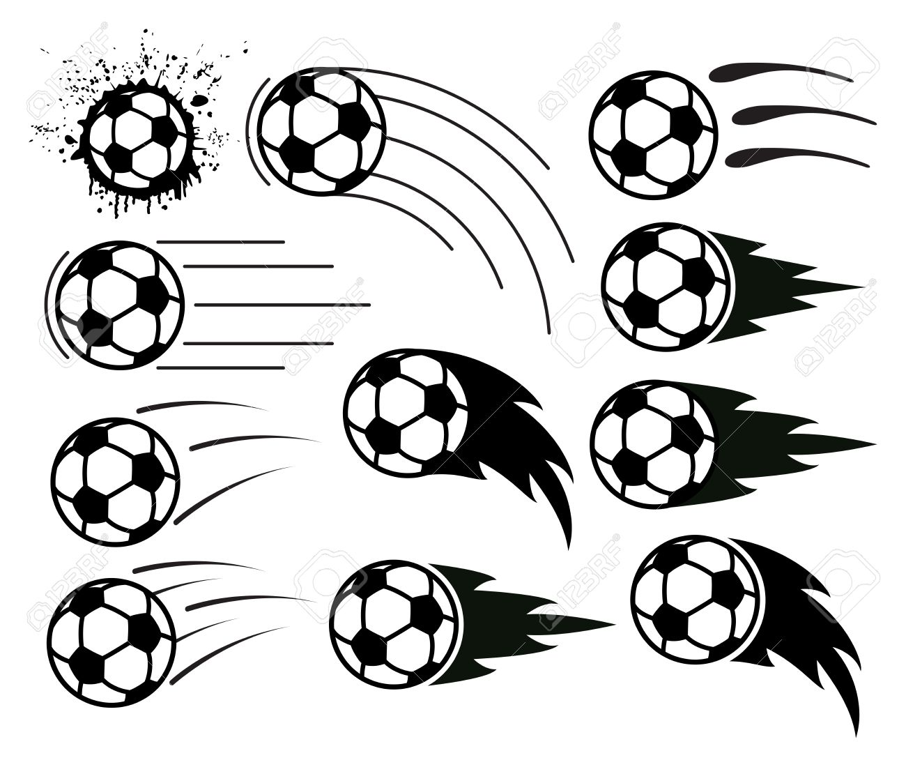 1300x1100 Vector Drawing Of Flying Soccer And Football Balls Royalty Free
