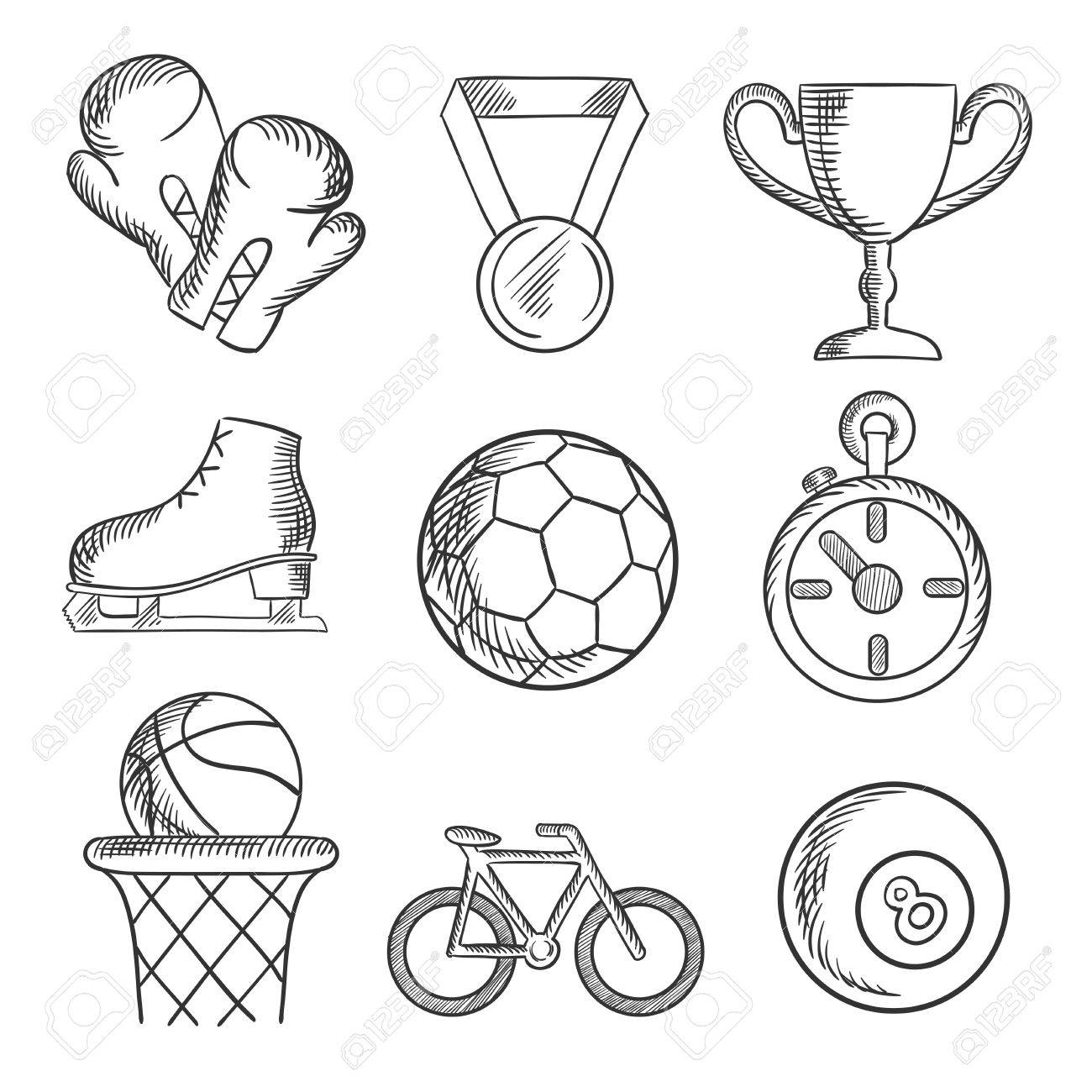 1300x1300 Sketched Sport Games Icons With Basketball, Soccer , Football
