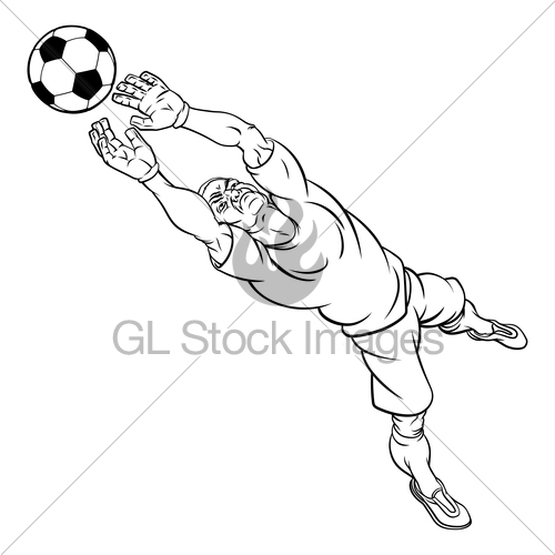 500x500 Cartoon Soccer Football Goal Keeper Player Gl Stock Images