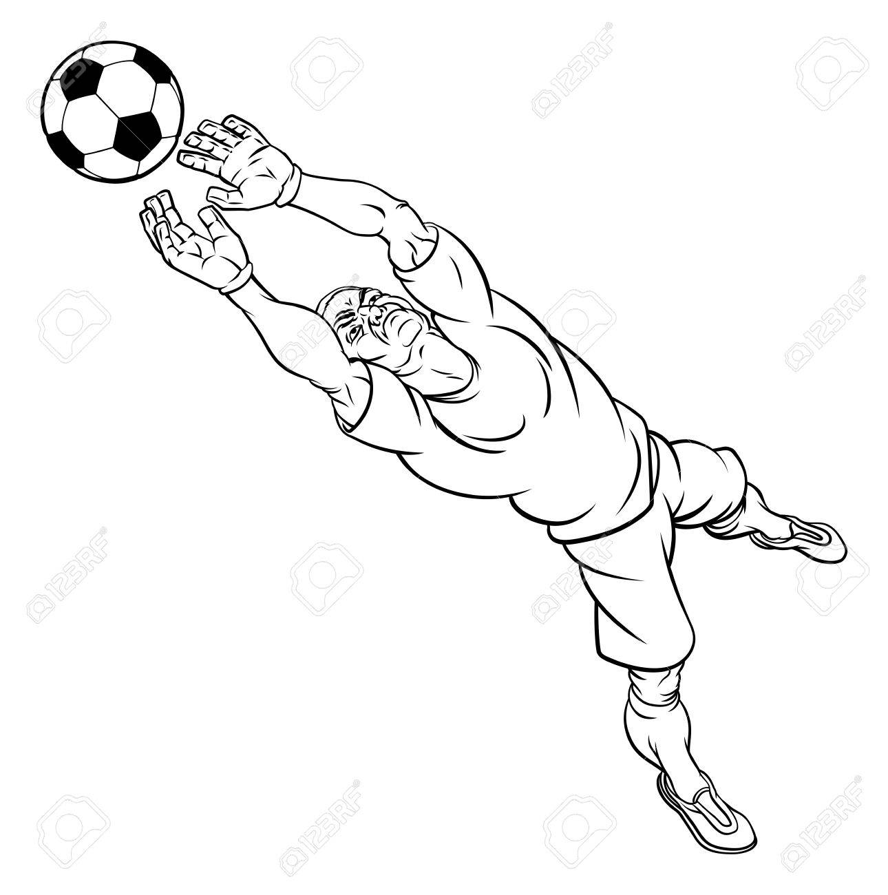 1290x1300 A Football Soccer Player Goal Keeper Cartoon Character Catching