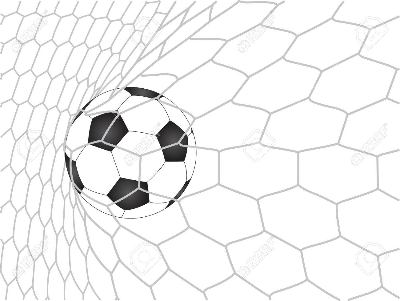 1300x978 Soccer Football In Goal Net Vector, Eps 10 Royalty Free Cliparts