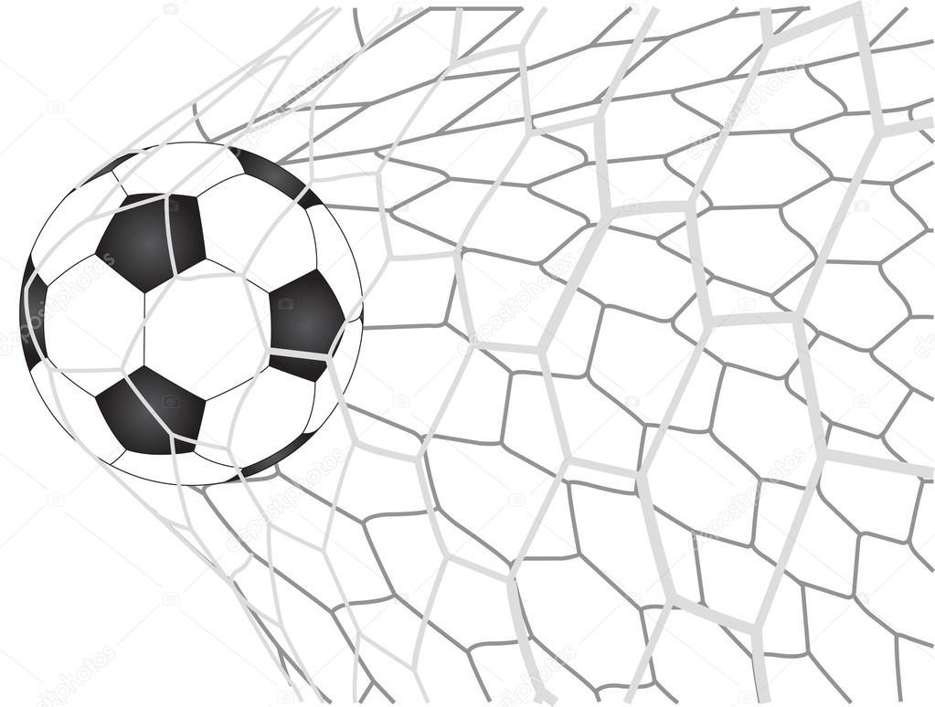 1023x774 Soccer Football In Goal Net Vector Illustrator, Eps 10. Stock