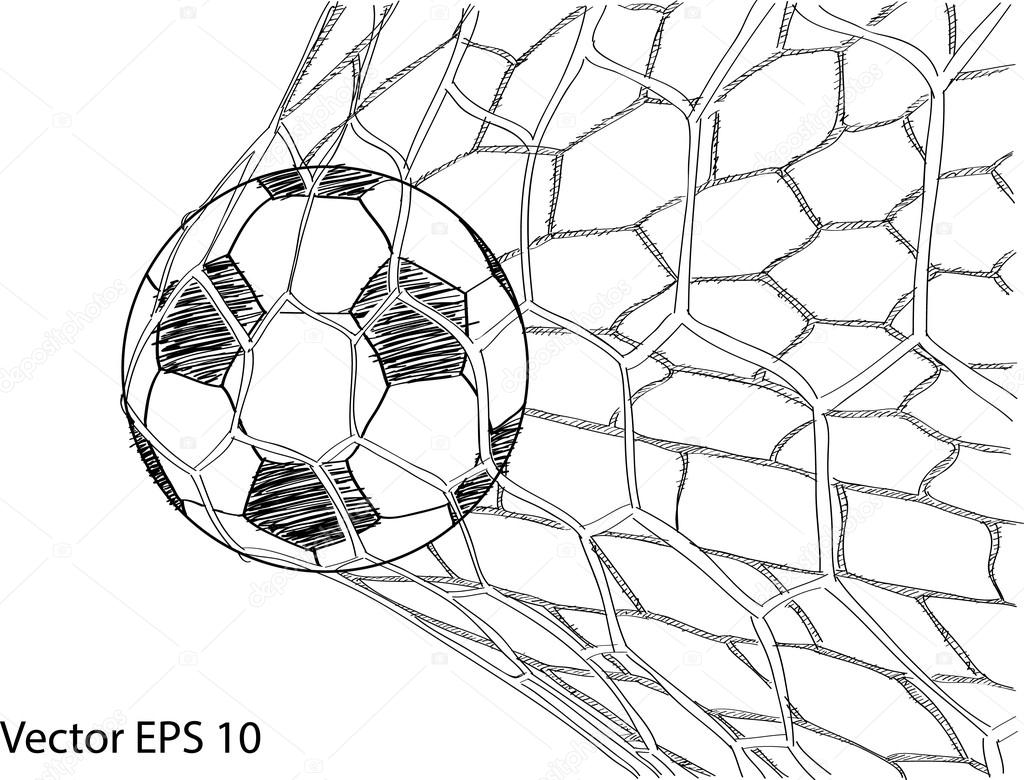 1024x780 Soccer Football In Goal Net Vector Sketched Up, Eps 10. Stock