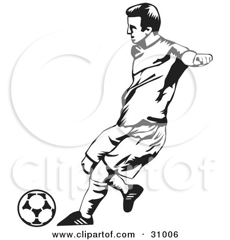 450x470 Clipart Illustration Of A Goal Keeper Blocking A Ball, In Black