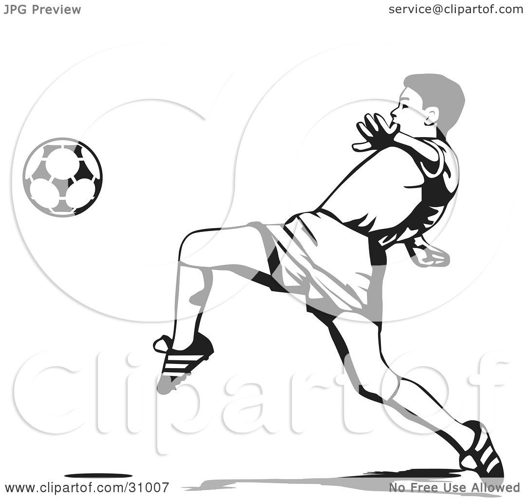 1080x1024 Clipart Illustration Of Soccer Player Lifting His Leg To Kick