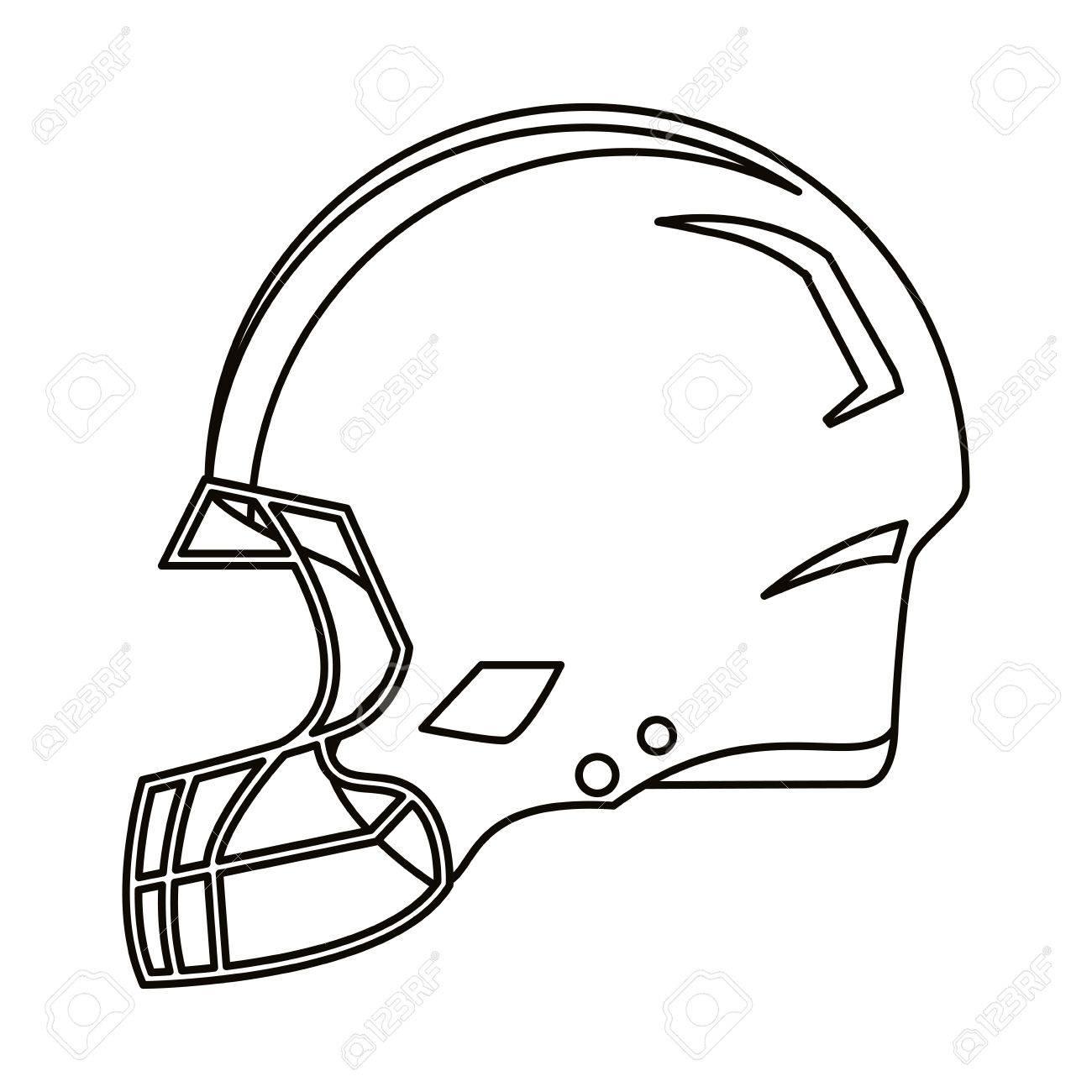 1300x1300 American Football Helmet Protection Outline Vector Illustration