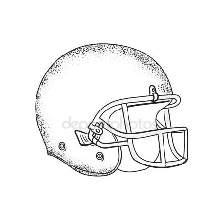 450x450 American Football Helmet Black And White Drawing Stock Vector