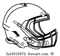 208x194 Free Art Print Of American Football Helmet Line Drawing. Line