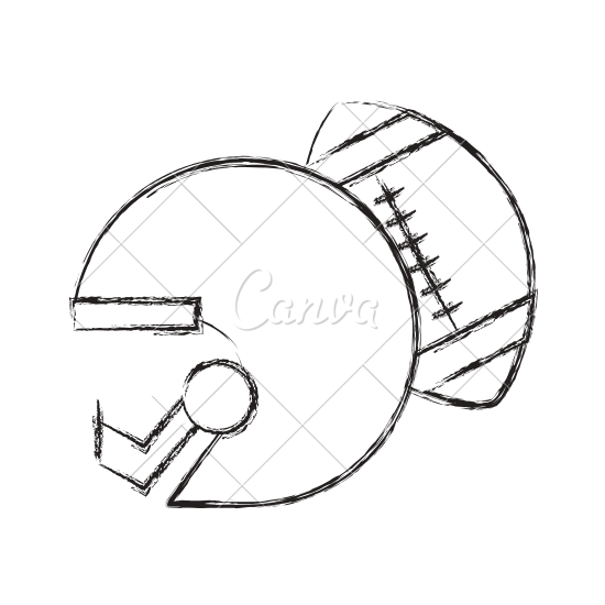 550x550 Football Helmet And Ball Sketch Icon