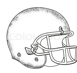 320x303 Line Drawing Illustration Of An American Football Helmet Viewed