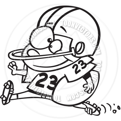 460x460 Cartoon Boy Football Player (Black And White Line Art) By Ron