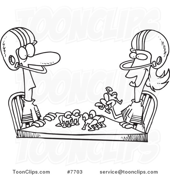 581x600 Cartoon Black And White Line Drawing Of A Husband And Wife Playing
