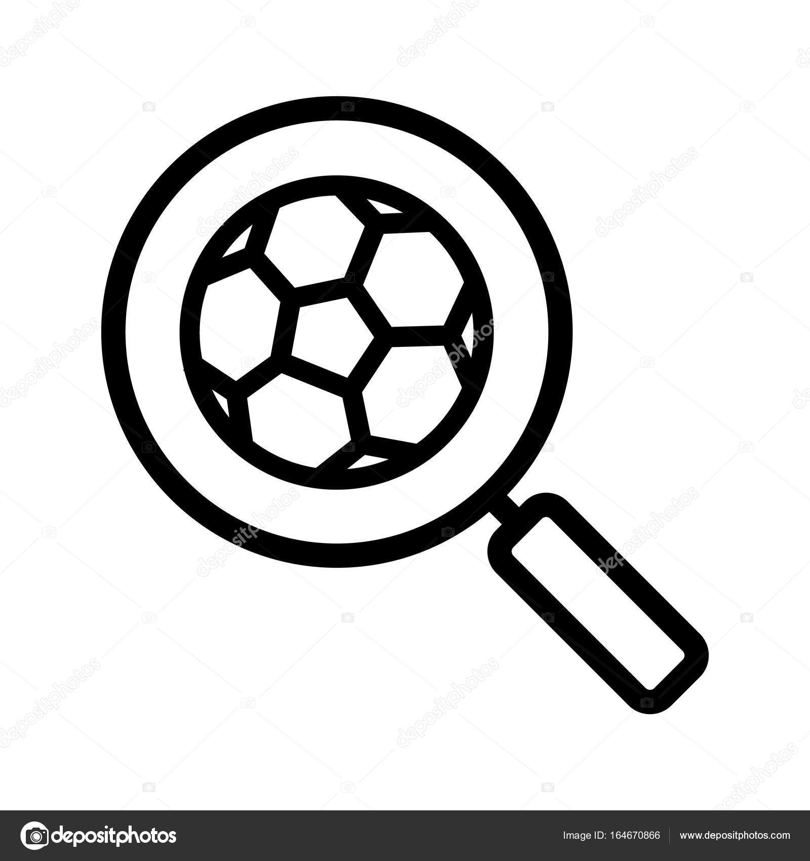1600x1700 Magnifying Glass With Soccer Ball Icon Stock Vector Bsd
