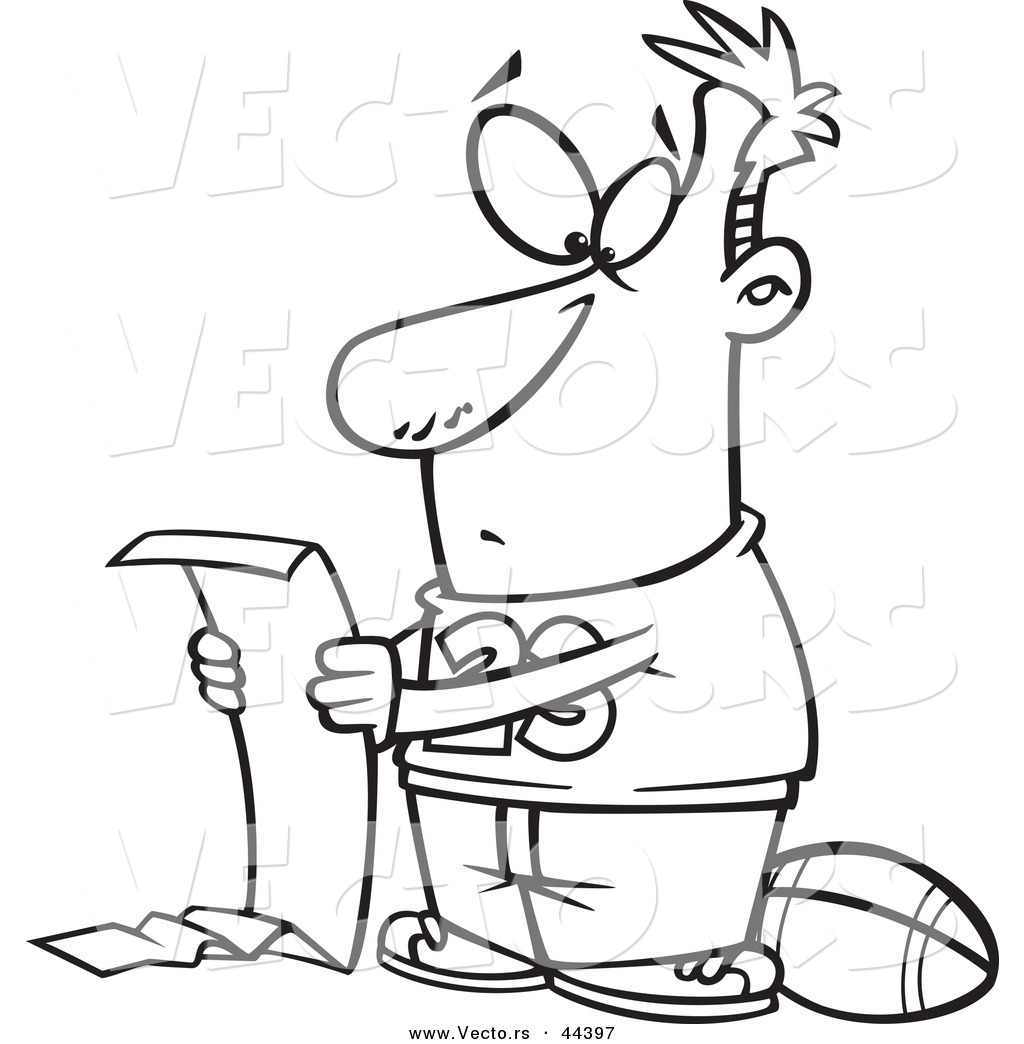 1024x1044 Vector Of A Cartoon Man Reading A Long Do List But Wanting