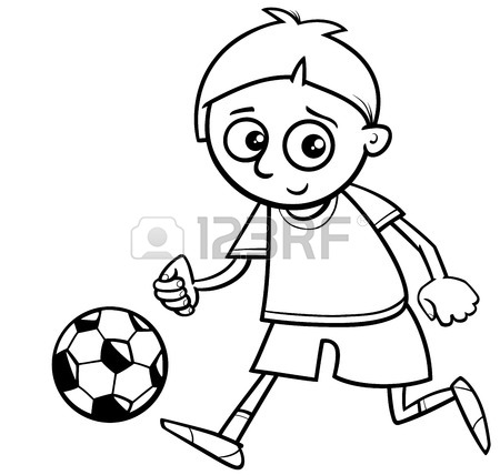 450x428 Black And White Cartoon Illustration Of Boy Playing Football