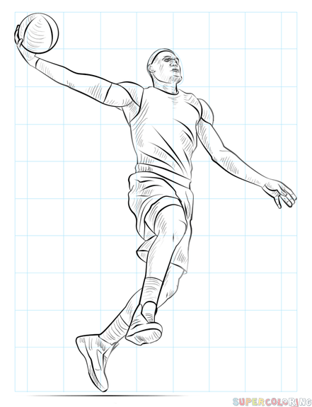 441x575 How To Draw A Basketball Player Dunking Step By Step Drawing