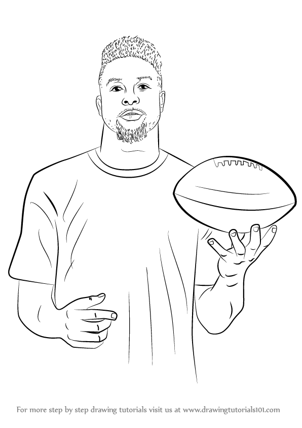 596x843 Learn How To Draw Odell Beckham Jr. (Footballers) Step By Step