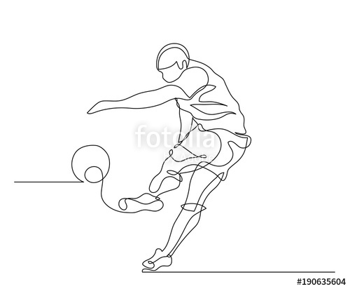 500x412 Continuous Line Drawing. Illustration Shows A Football Player
