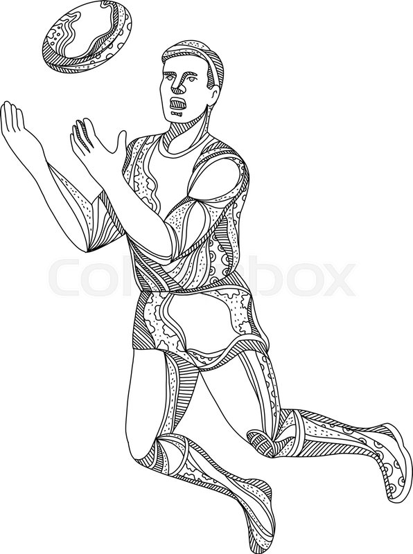 596x800 Doodle Art Illustration Of An Aussie Rules Football, Australian