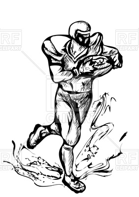 282x400 American Football Player Sketch Royalty Free Vector Clip Art Image