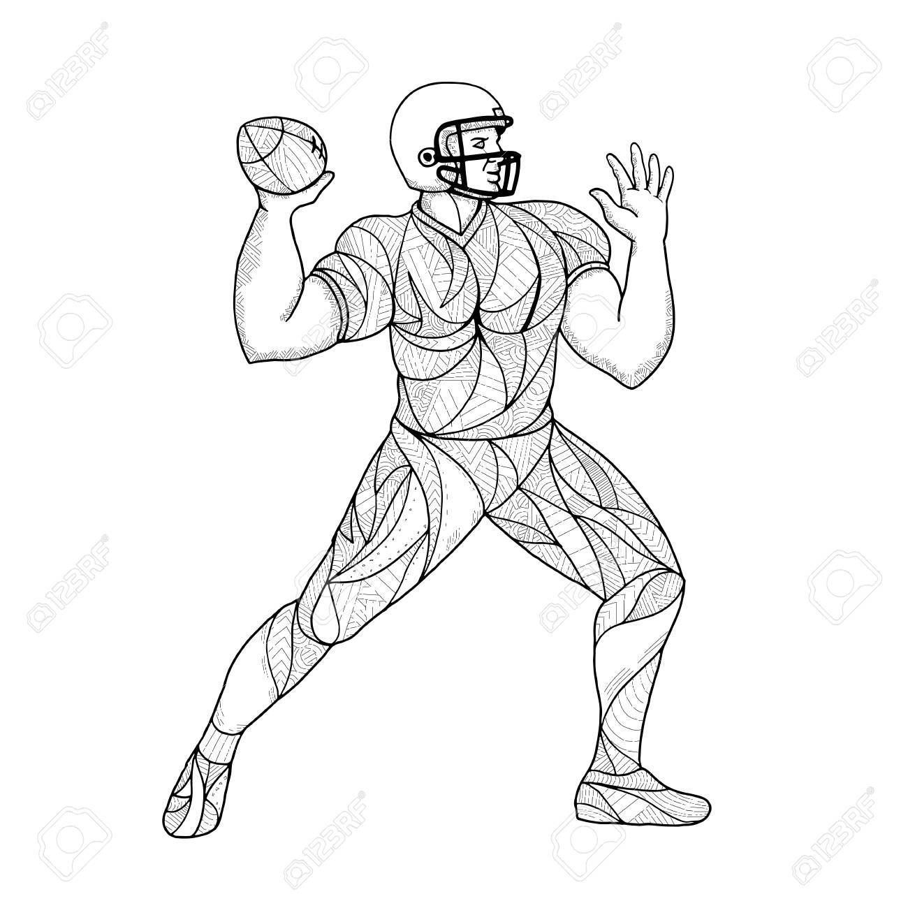 1300x1300 Mandala Illustration Of A Football Player. Ilustraciones