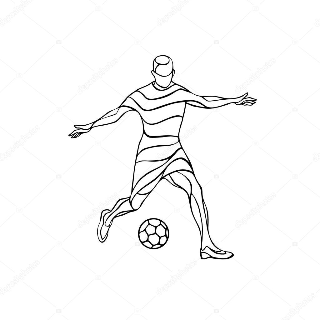 1024x1024 Soccer Or Football Player Kicks The Ball. Abstract Line Art Vector