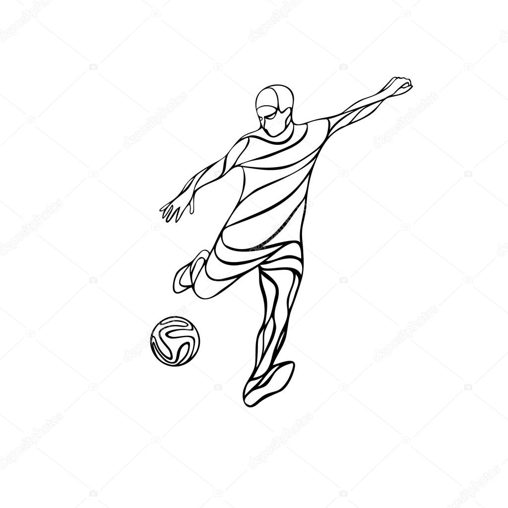 1024x1024 Soccer Or Football Player Kicks The Ball. Stock Vector Kluva