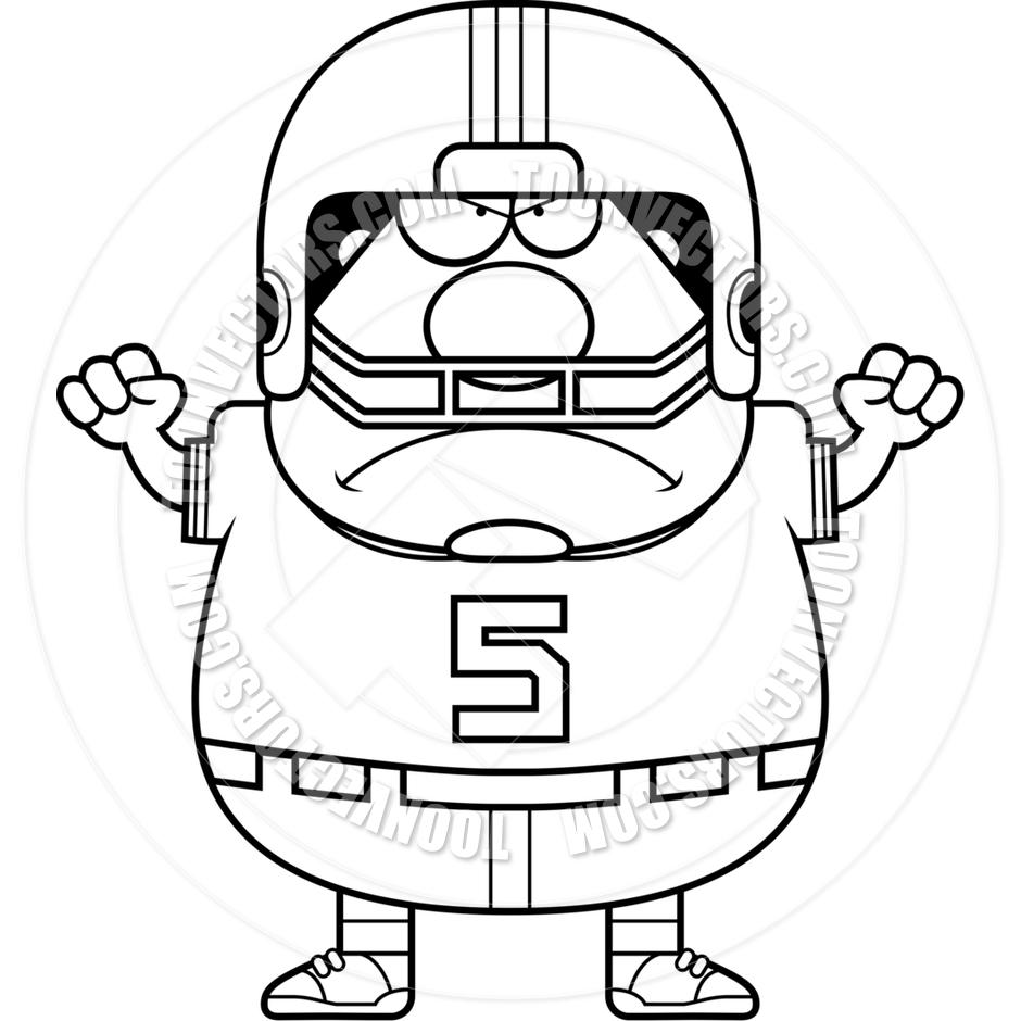 940x940 Cartoon Football Player Man Angry (Black And White Line Art) By