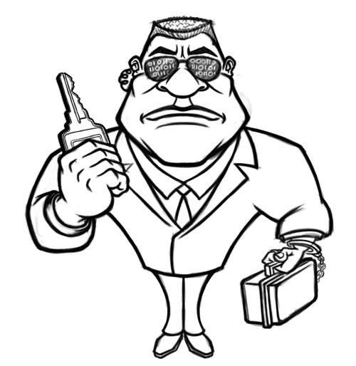 500x514 Cartoon Bodyguard Mascot Character Art