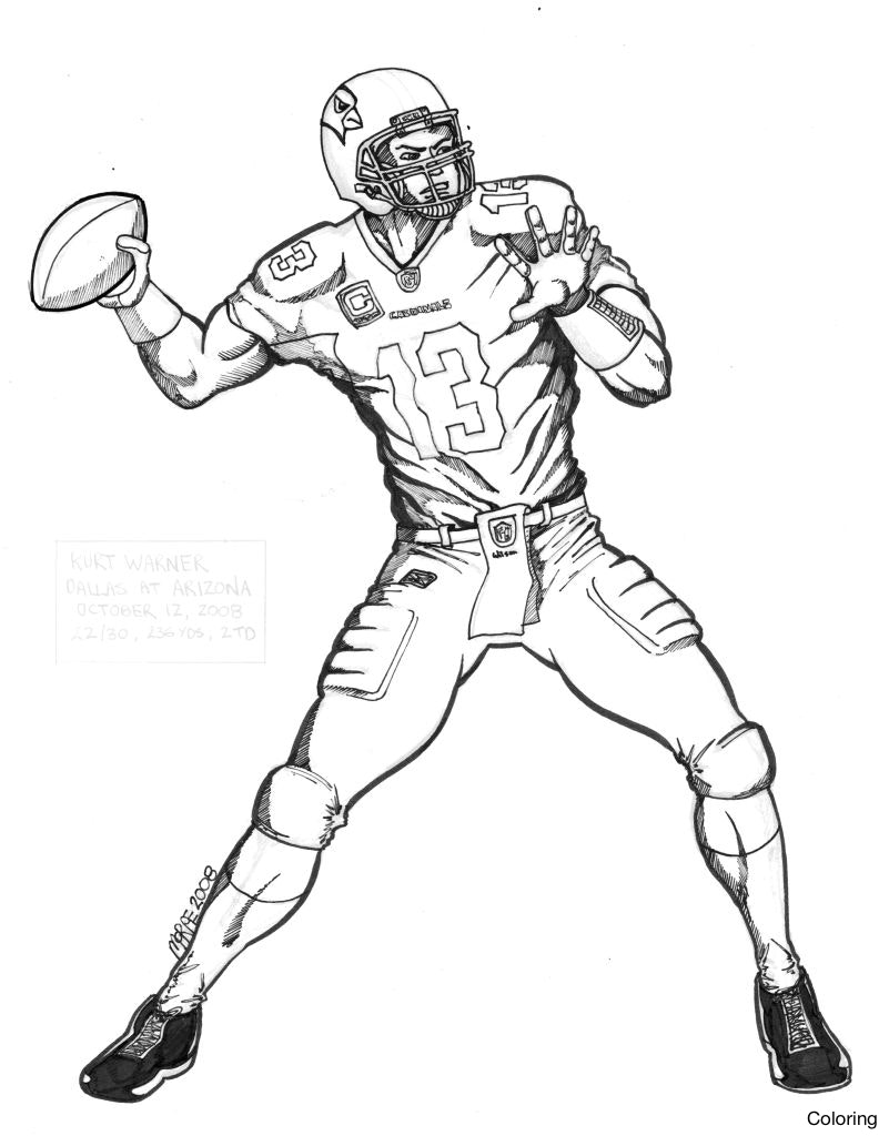 801x1024 Football Player Coloring Pages For Kids Archives Throughout