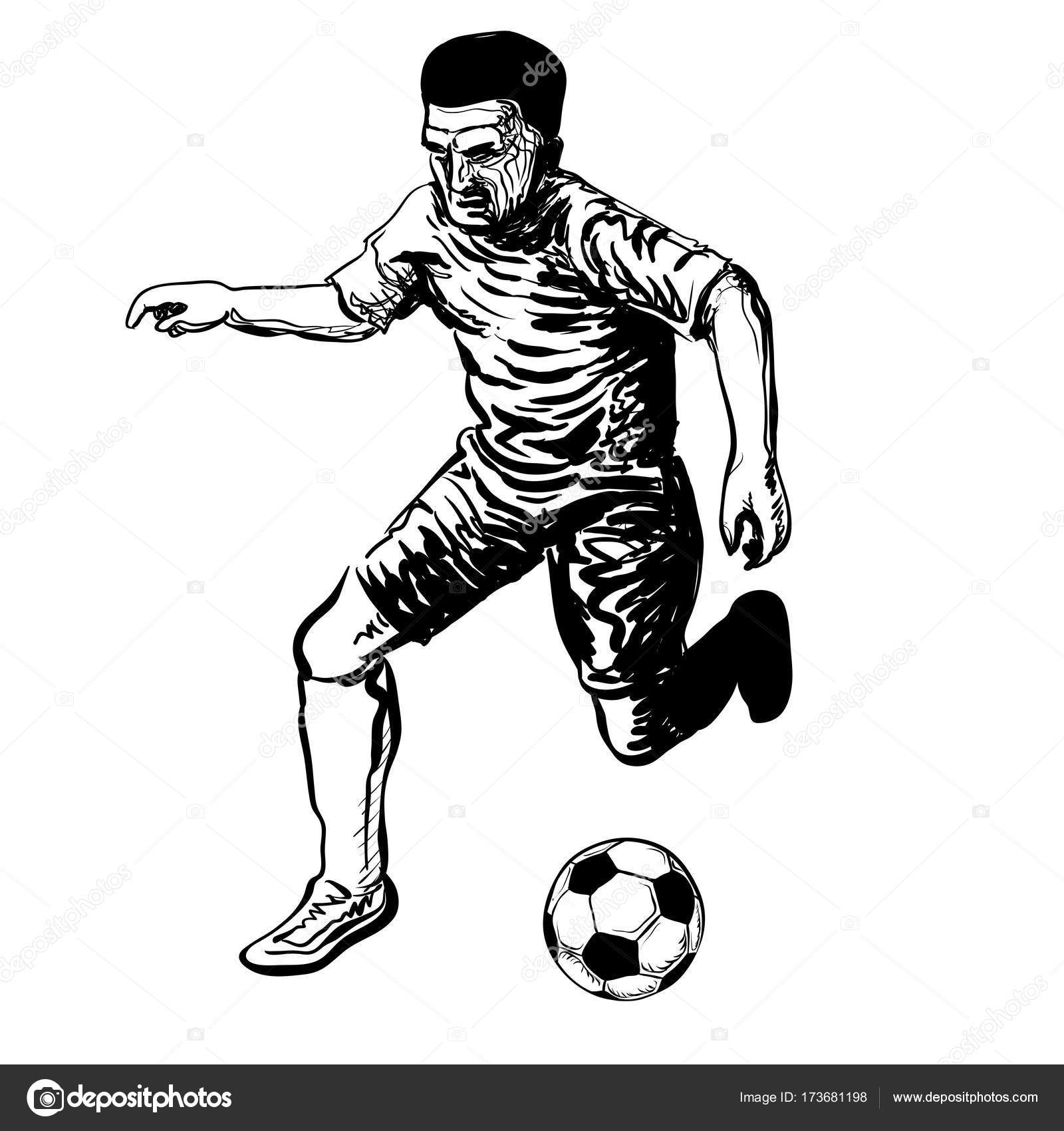 1600x1700 Hand Drawing Of Soccer Player Kicking A Ball Stock Vector