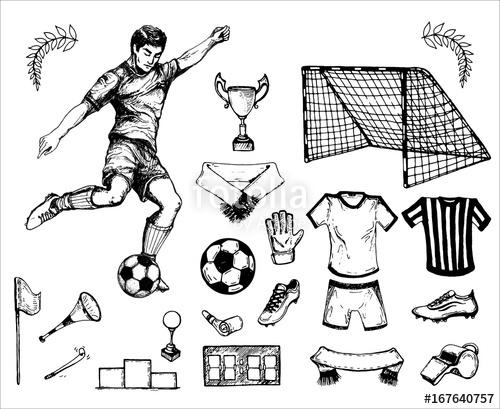 500x409 Hand Drawn Vintage Sketh Of The Football Theme Footballer, Ball
