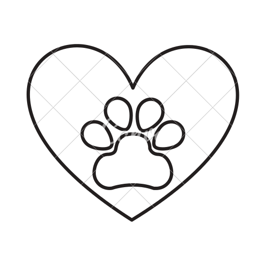 550x550 Heart With Paw Footprint