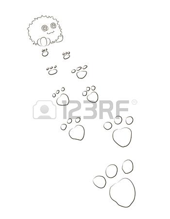 350x450 Cute Cartoon Monster Footprints Behind On Him Royalty Free
