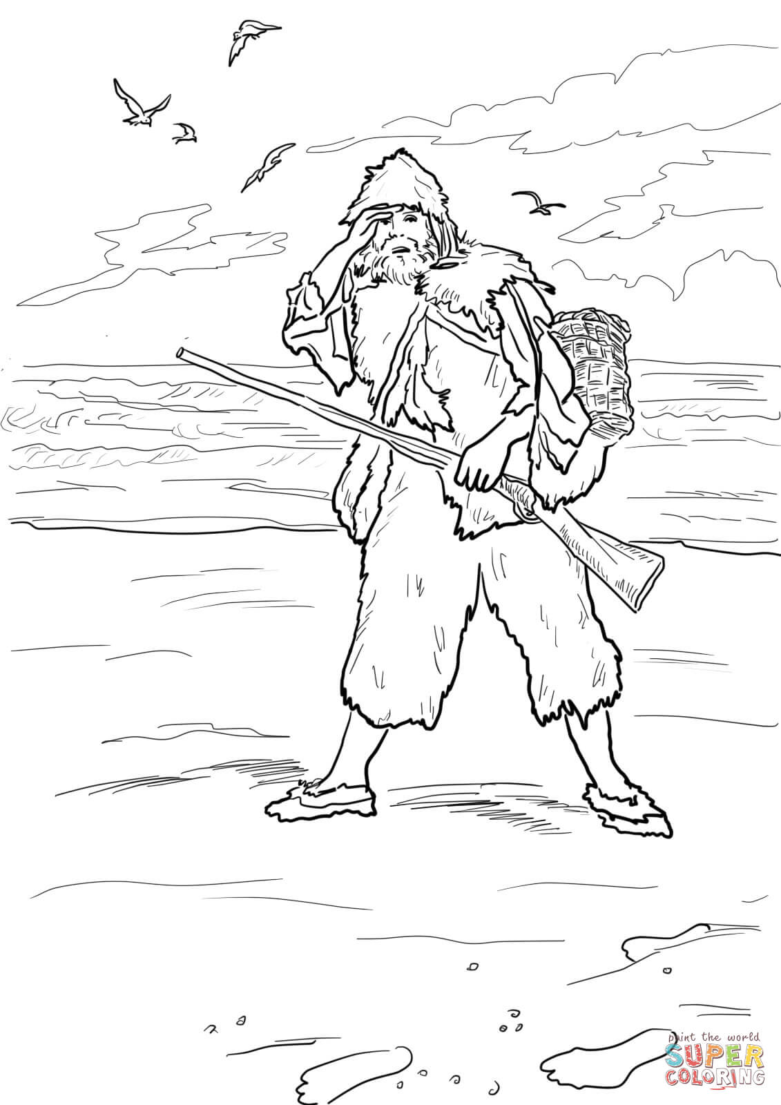 1131x1600 Robinson Crusoe Sees Footprints On A Sand Coloring Page Free