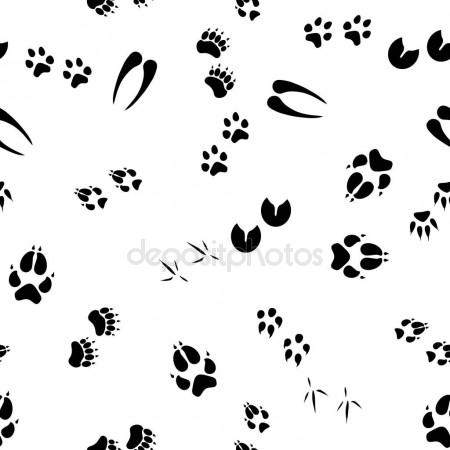 450x450 Seamless Pattern With Animal Footprints Stock Vector